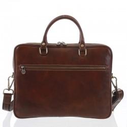 Kožená taška na notebook a doklady hnědá