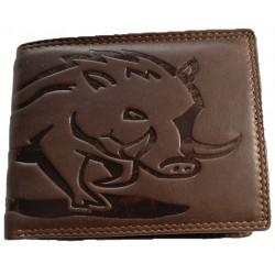 Kožená peněženka s divočákem dark