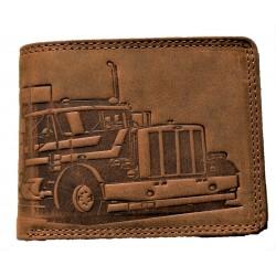 Kožená hnědá peněženka kamion
