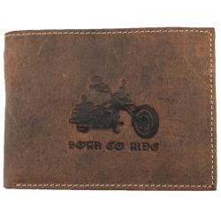 Hnědá kožená peněženka motorka