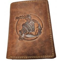Kožená peněženka znamení zvěrokruhu - Vodnář
