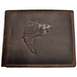 Kožená hnědá peněženka kapr