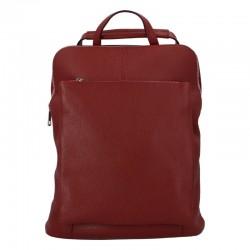 Prostorný dámský kožený kabelko - batoh red