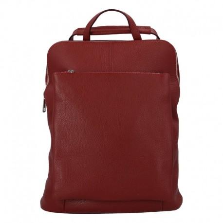 Prostorný dámský kabelko - kožený batoh růžový