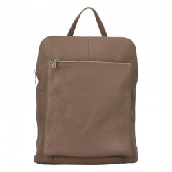 Prostorný dámský kožený kabelko - batoh zemitý