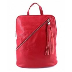 Dámský kožený batoh červený
