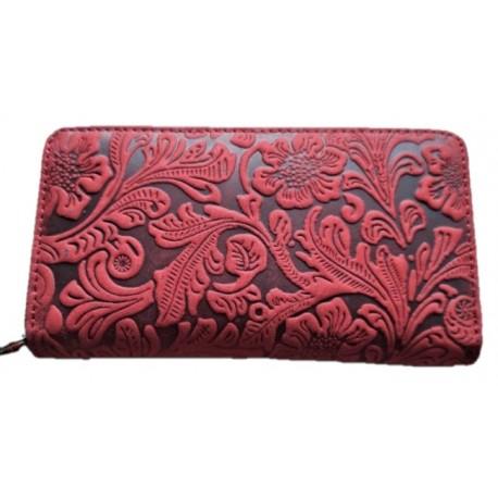 Dámská kožená penálová peněženka tmavě hnědá