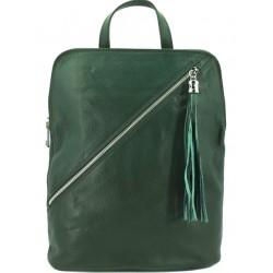 Dámský kožený kabelko - batoh zelený