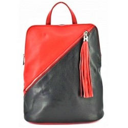Dámský kožený kabelko - batoh červený